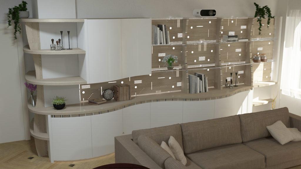 Illuminazione scenografica-parete-attrezzata-Midarte