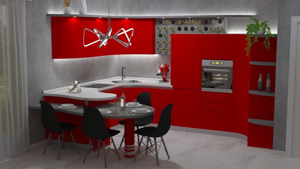 cucina Cinzia ad angolo rossa