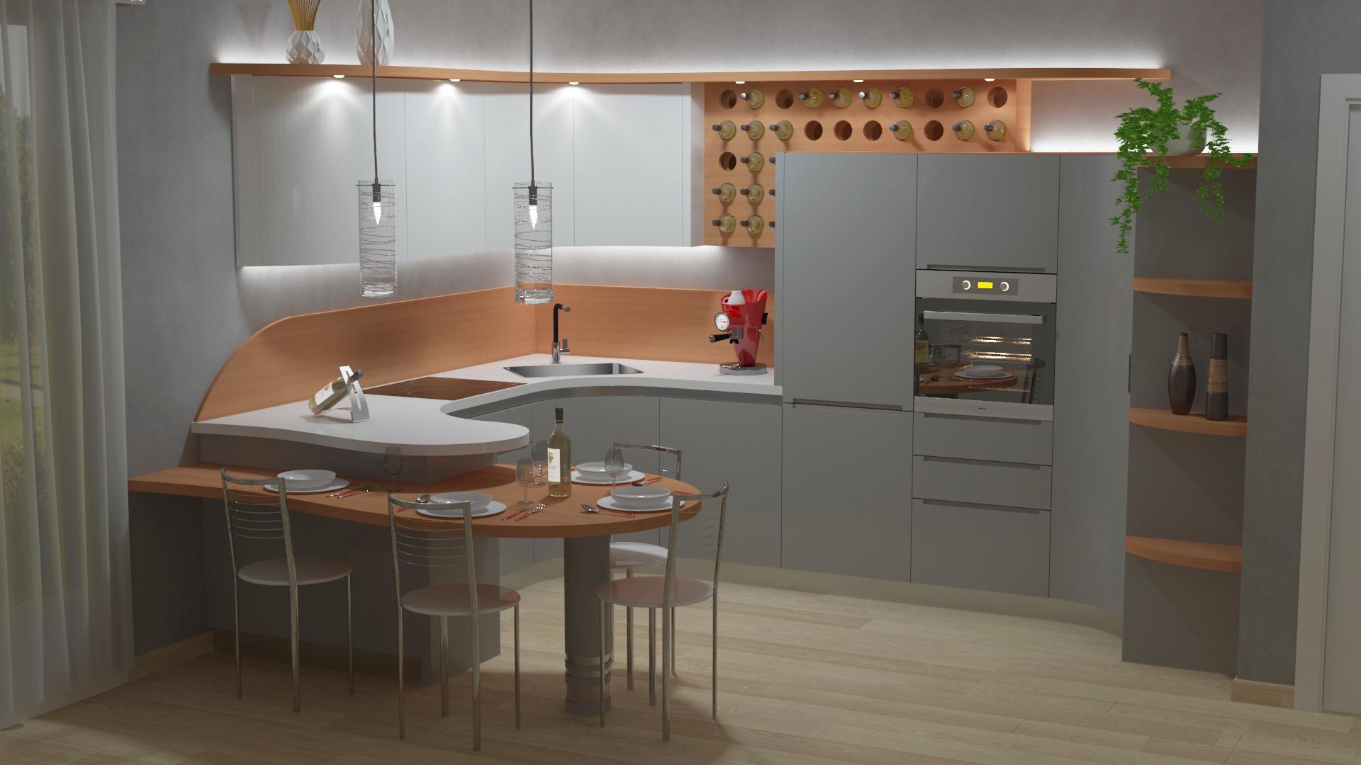 Cucina Cinzia Con Penisola Bianco E Legno Midarte