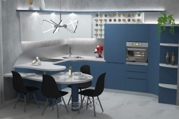 cucina angolare con penisola Cinzia blu e bianco