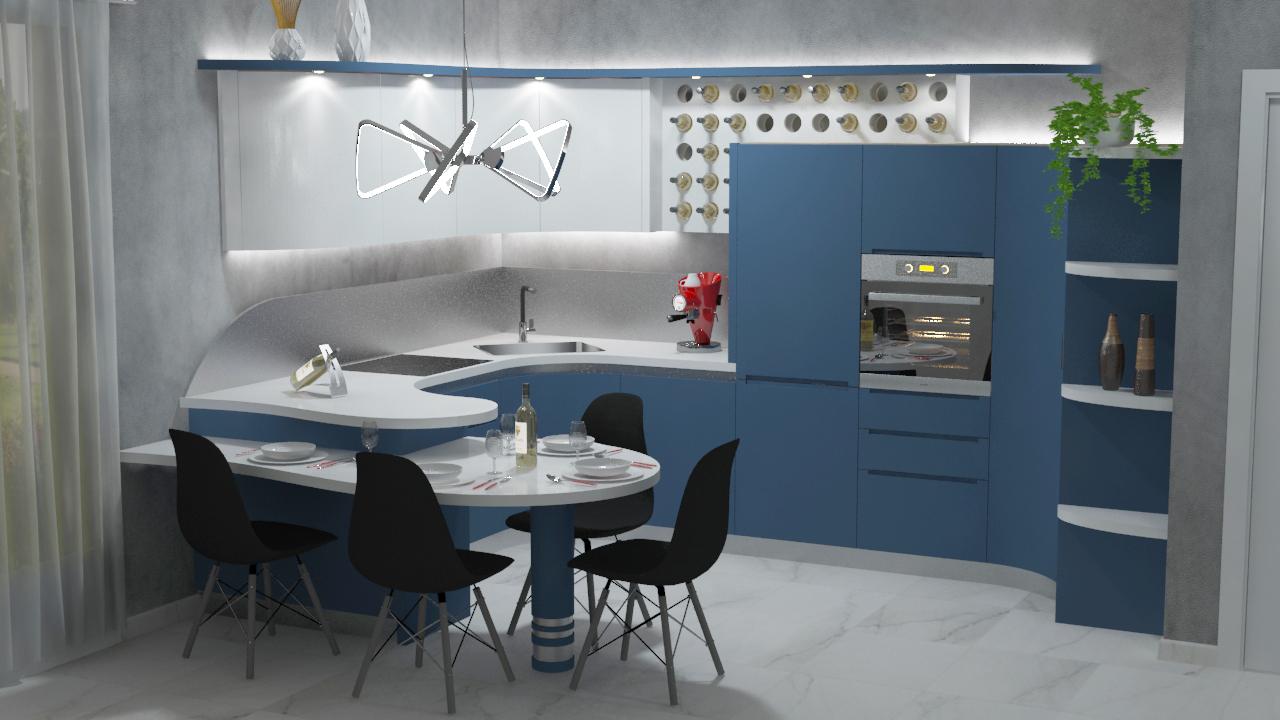 Cucina angolare con penisola cinzia blu e bianco midarte - Cucina angolare con penisola ...