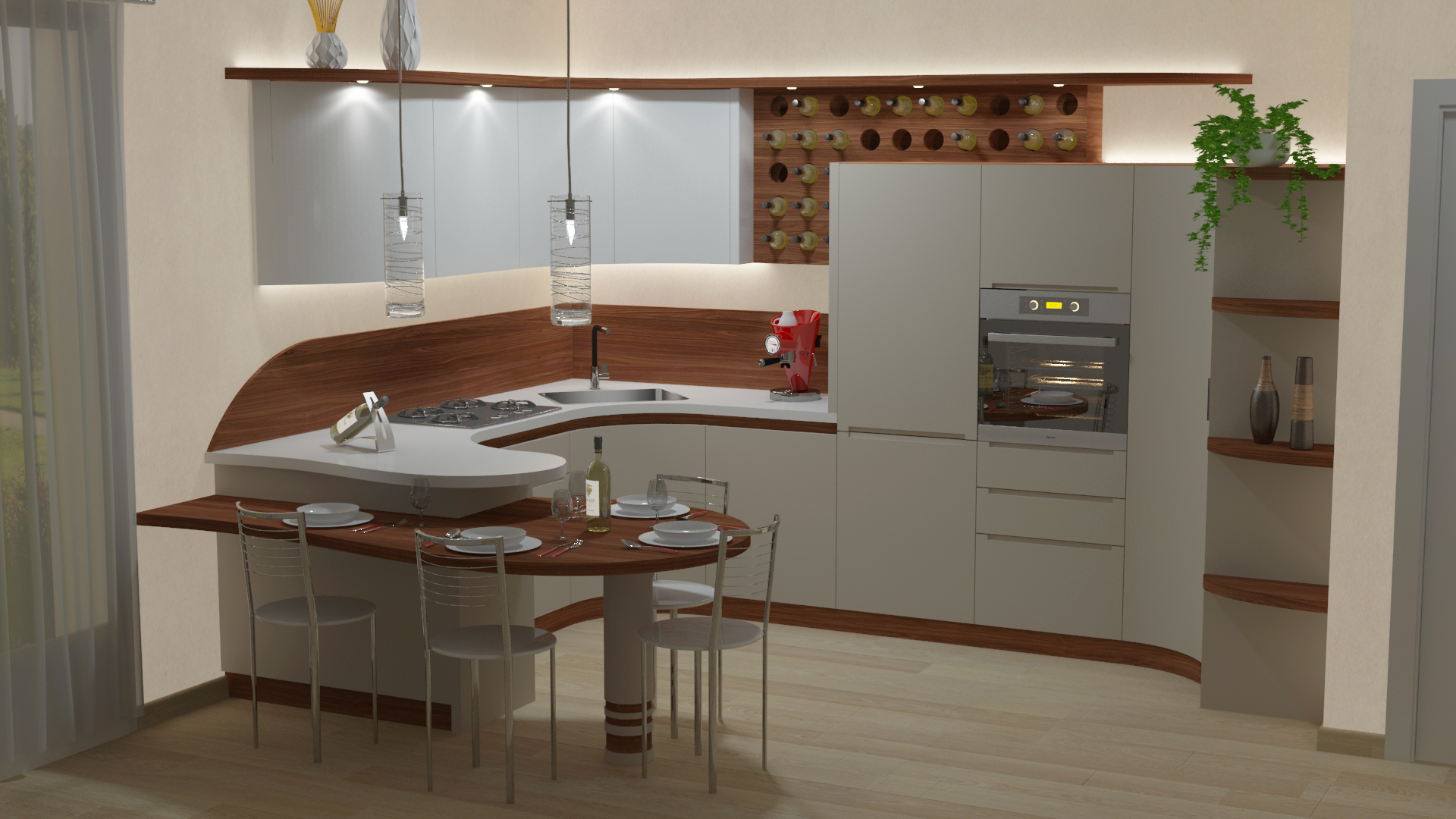 Cucina Penisola Cinzia Bianco E Legno Midarte