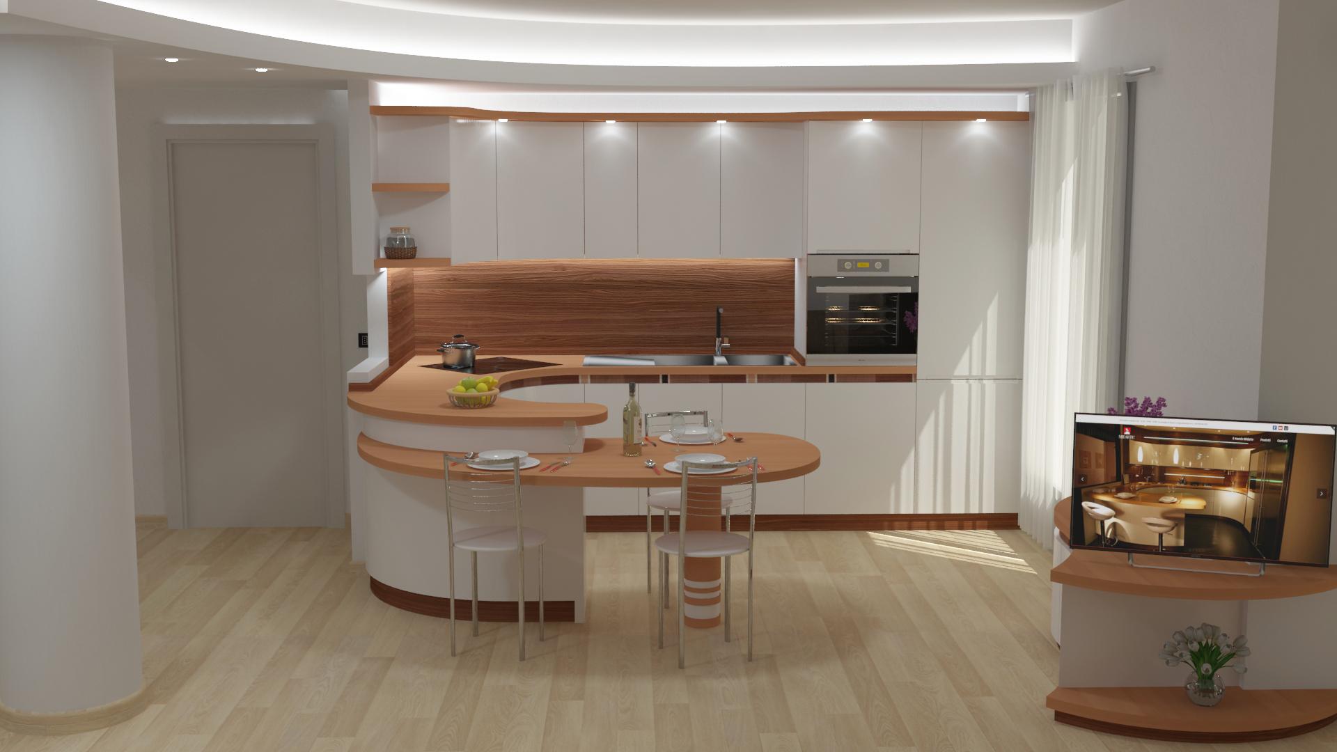 Controsoffitto-luci-led-cucina-avvolgente-progetto-Milano
