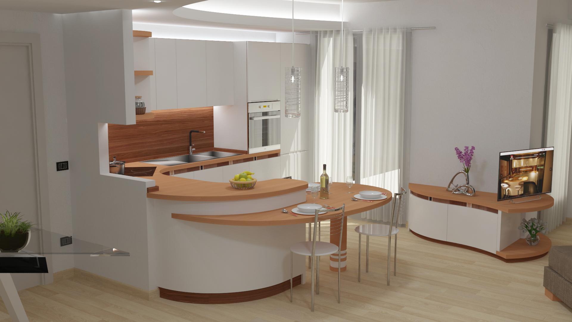 Render cucina soggiorno appartamento milano 5 midarte - Cucina molecolare milano ...